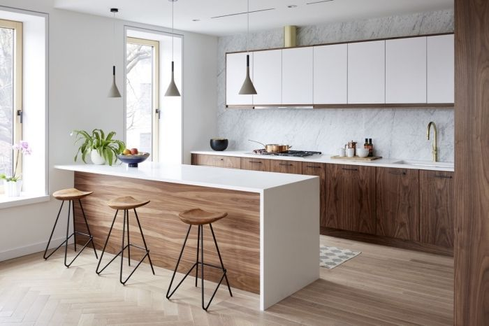 White Kitchen Decoration And Wood Kitchen Layout Idea With Walls