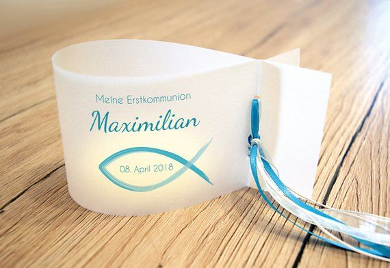 DIY: 6 x light envelope, wind light for baptism and communion, fish – personalised with name, date and baptisme