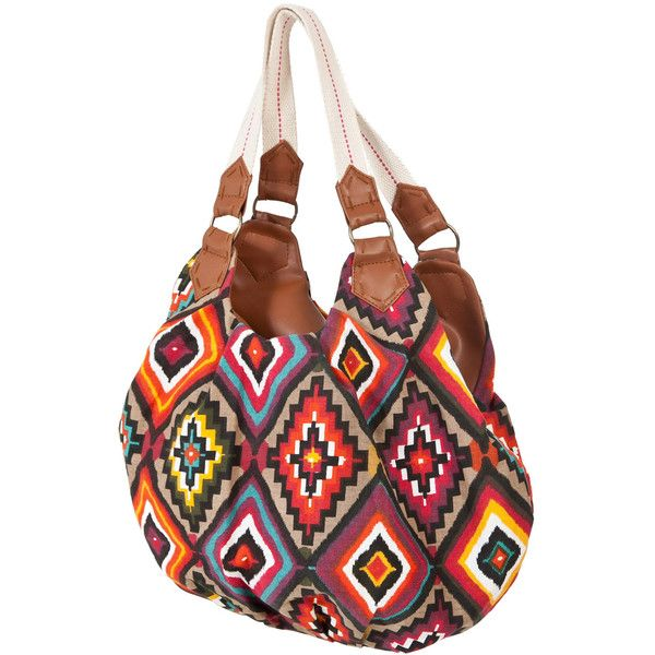 Miso Aztec Tote Bag ($15) ❤ liked on Polyvore featuring bags, handbags, tote bags, purses, accessories, bolsos, dresses, zip tote, tan handbags and aztec print purse