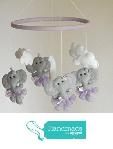 Elephant Baby Crib Mobile, ballerina Cot Mobile, Elephant tutu Nursery Mobile, gray purple lavender nursery decor, lavender nursery bedding from RainbowSmileShop https://www.amazon.com/dp/B01FT1AD4M/ref=hnd_sw_r_pi_dp_fagCxb4EMS75J #handmadeatamazon