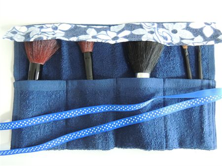 Go anywhere toothbrush holder, makeup roll, travel accessory, camping & overnight stays. Handmade terry towelling. Washable