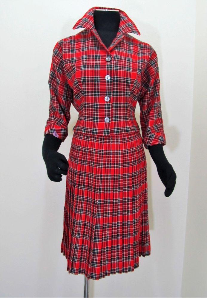50\u2019s Nicholas Ungar Red Tartan Wool Pleated Skirt suit Aljean  Sz 4-6
