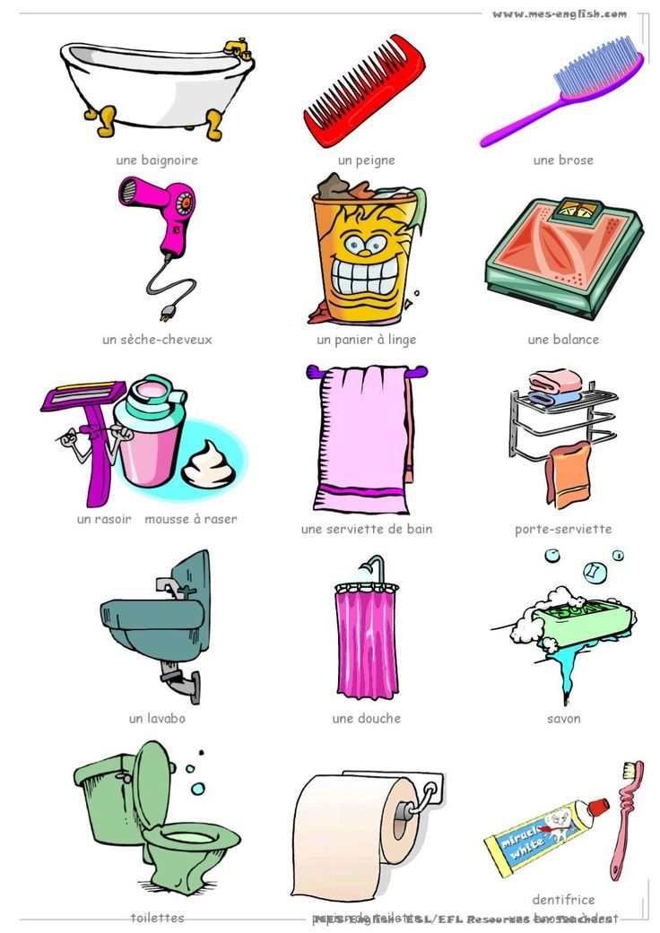 LA SALLE DE BAINS vocabulaire, objets de la salle …