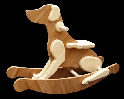 Family Dog Rocker: Delightfully made of amber and natural bamboo plywood with poplar dowel rods. $365. Good Dog!