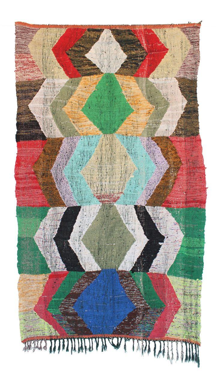 "Moroccan Kilim Boucherouite, 4'8"" x 7'2"" feet"