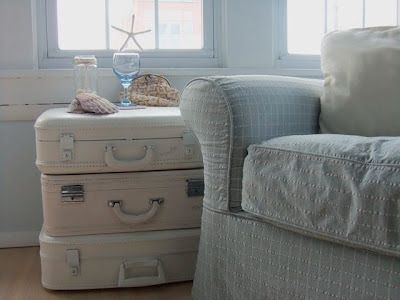 Paint suitcases to make a side table