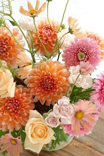 【今日の贈花】揺れる秋桜♪お誕生日花|Flower note の 花日記 (横浜・上大岡 アレンジメント教室)