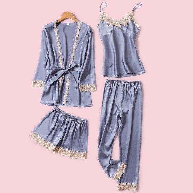 SILKBEUTY Silk Sexy Pajamas Set Lace Summer Women Sleeveness V-neck  Top+Shorts+ 9ee804d95