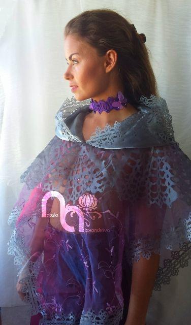 Choker & bolero from manually perforated fabric. Designed & handmade by Natalia Alexandrova.