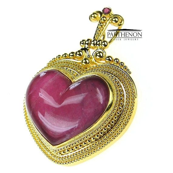 18k Gold Byzantine Heart Pendant by ParthenonGreekJewels on Etsy