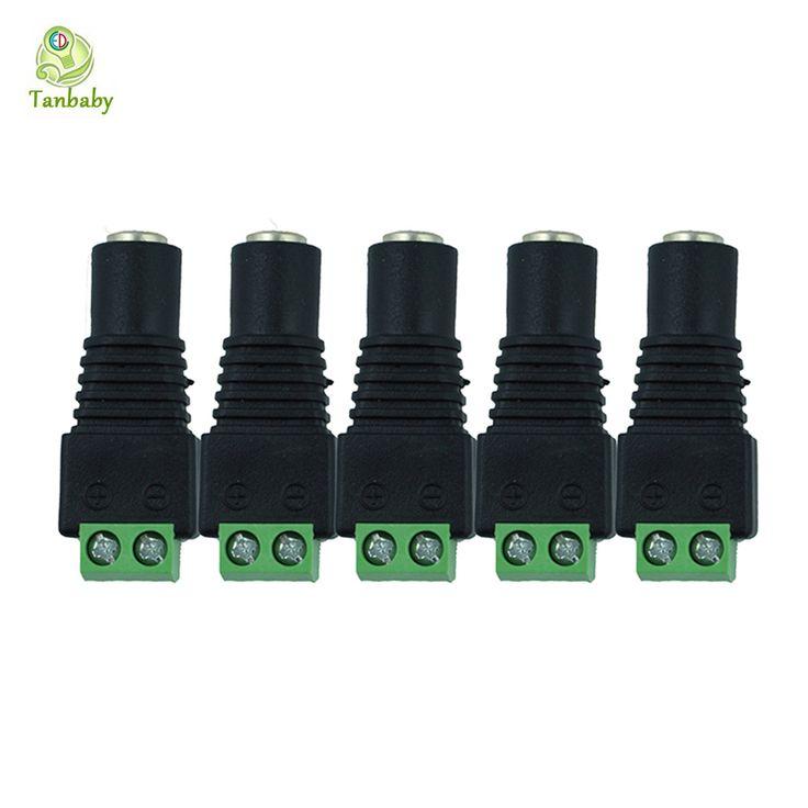 Tanbaby 5 pcs 5.5mm x 2.1mm 12 V DC Power Pria & Wanita Jack Konektor Plug Adapter Adaptor untuk Warna Tunggal DIPIMPIN Strip Lampu