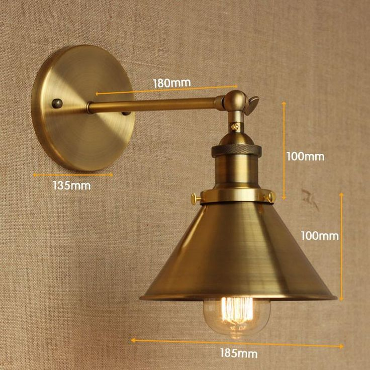 brass cone shade wall light with short arm