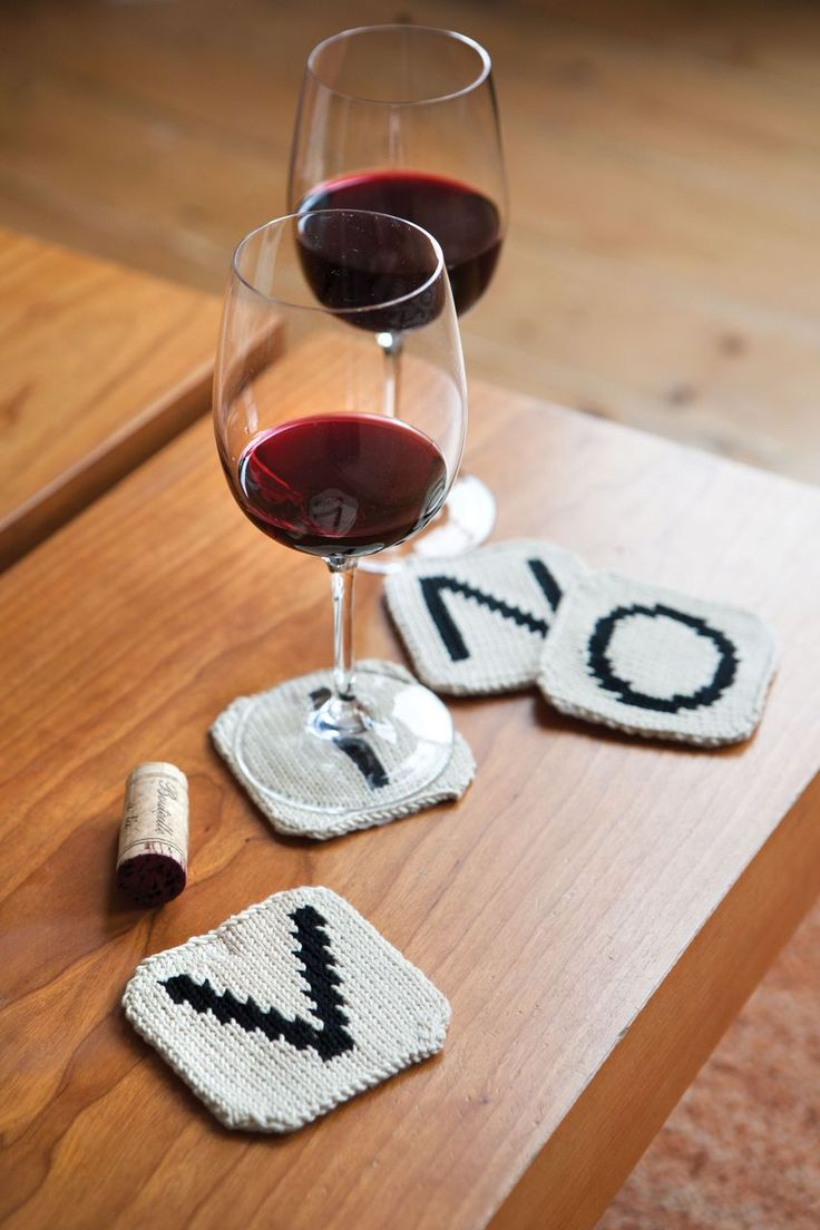 """What a fun idea, knit coasters that spell """"vino"""" for you to place your wine (vino) glasses on!"""