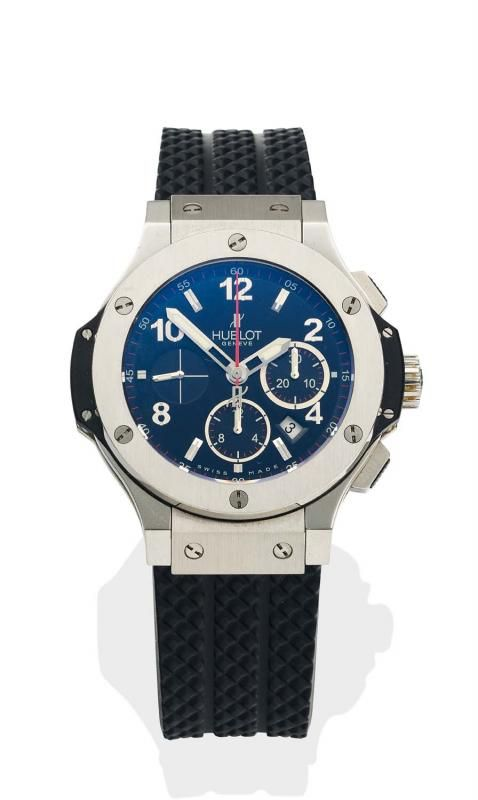 A Gentleman's stainless steel Big Bang chronograph wristwatch, Hublot, circa 2012. Automatic. 44mm. Ref. 301RX.Serial number 611645. Circular black dial, applied Arabic and baton numerals, subdials at 3, 6 and 9 o'clock. Date aperture below 4 o'clock. Case, dial, movement, crown and deployant clasp signed. Skeleton back. Hublot black rubber strap. - Price Estimate: $10000 - $15000