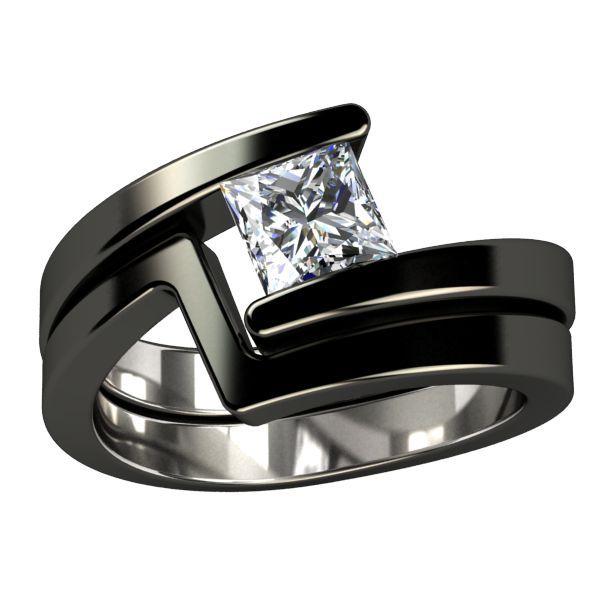 Black Titanium Diamond Solitaire Ring