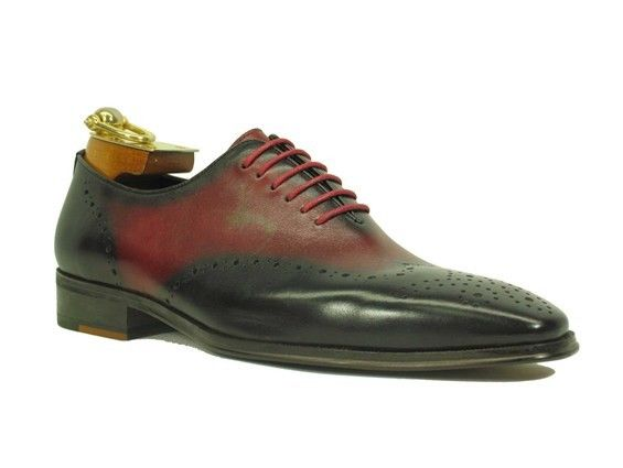 Men's Fashion Shoes by Carrucci - Black and Red Oxford Lace-Up
