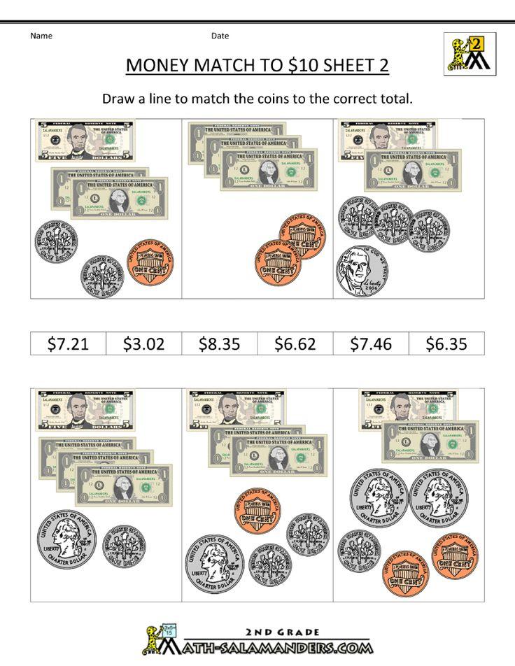 money math worksheets money match to 10 dollars 2 money math money math worksheets