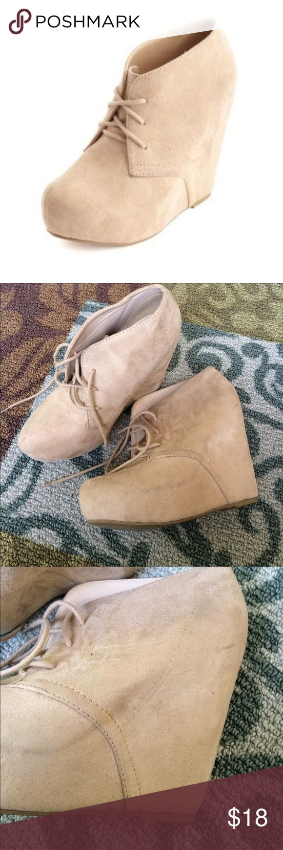Charlotte Russe Tan Boot Wedge Tan Colored boot wedge. Very lightly worn. Only shows slight wear in bottoms. Inside are clean!! A few small marks from storage. Feel free to ask questions, I ship Same day!! Charlotte Russe Shoes Wedges