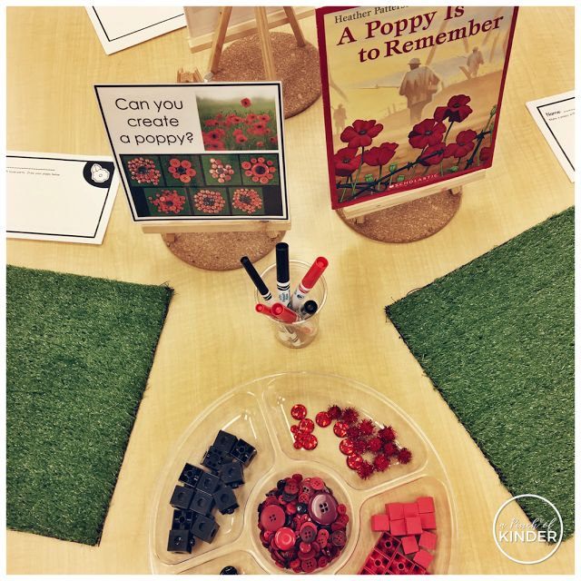 A Pinch of Kinder: Kindergarten Remembrance Day Activities - Can you create a poppy with loose parts?