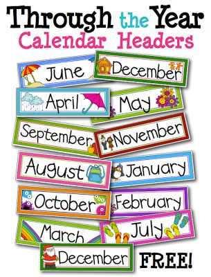 FREE monthly labels for classroom calendar