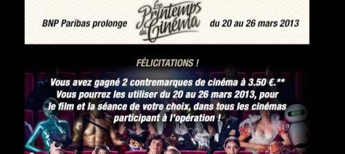 jeu-concours pour prolonger le printemps du cinéma 2013