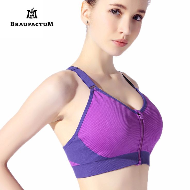 Stitching Color Sexy Ladies Sport Bras for Running Zip Front Push-up Jogging Gym Breathable Vest Yoga Bra Fitness Crop Tops #Affiliate