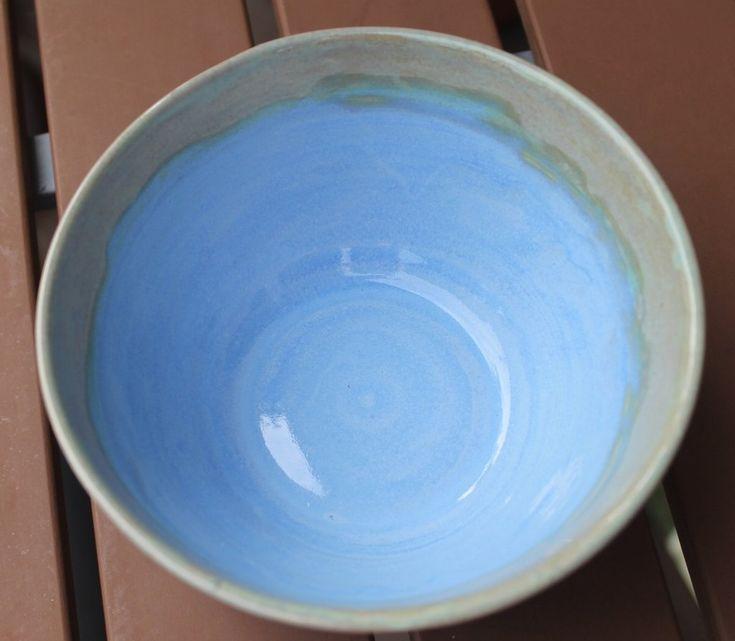 Rueda de gres soda Cereal Sopa Helado Tazón Azul Botánico OOAK   – anniesearthpottery.com