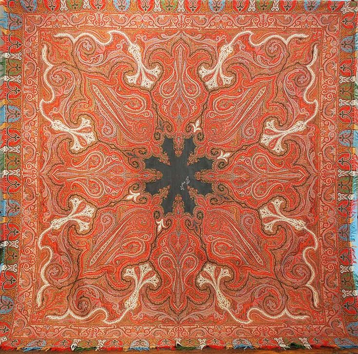 Paisley Shawl - Jacquard-Woven Wool with Harlequin & Fringed Borders. French. Circa 1860.