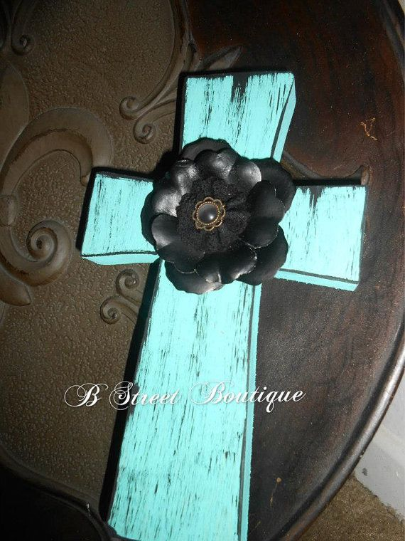 decorative wooden crosses   Turquoise and Black Wooden Cross by bstreetboutique on Etsy