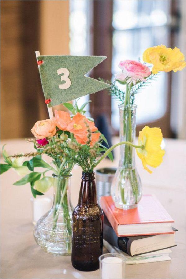 pennant vintage table numbers wedding decor / http://www.deerpearlflowers.com/vintage-wedding-ideas-for-spring-summer-weddings/