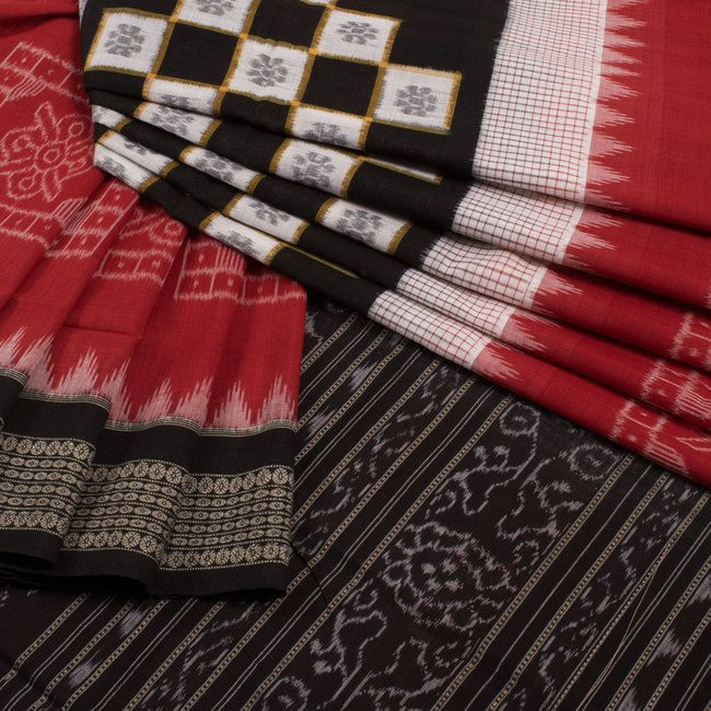 Buy online Handwoven Red Box Sakata Double Ikat Cotton Saree Without Blouse 10012198