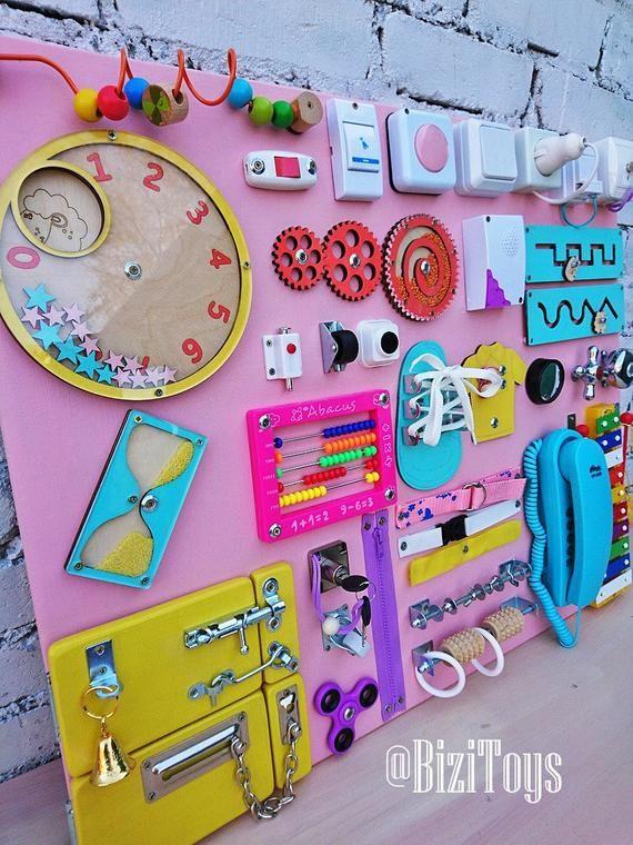 BESTSELLER! Toddler busy board Activity board for toddler Busyboard Montessori busy board Fidget board Sensory board Wooden toy