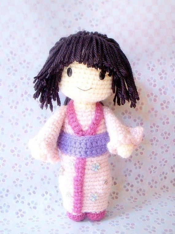 """This is a listing of """" Aiko """" , amigurumi doll patterns/PDF. Aiko is a girl in a traditional Japanese Kimono dress! She is a little sweet girl! Completed size : 9 3.75 mm hook size and worsted weight yarn used here. This file includes pages of step-by-step instructions and pictures. Easy"""
