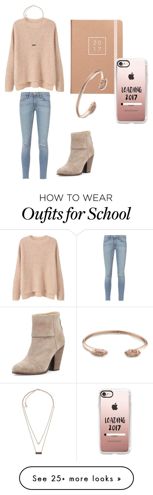 """School preparation"" by sarahfohlen on Polyvore featuring Casetify, MANGO, Frame, Michael Kors, rag & bone, Kendra Scott, Winter and 2k17"
