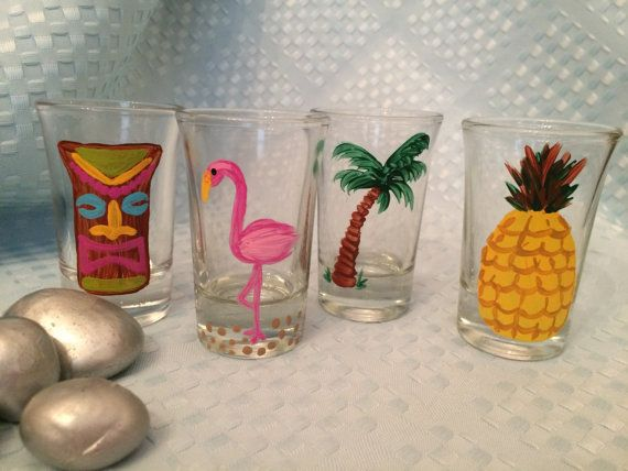 Set of 4 Hand Painted Tropical Shot glasses by ArtsyFartsyBarArt