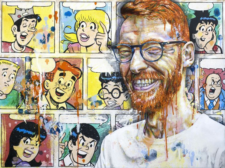 """""""Red"""" by Vernon Fourie Oil & Acrylic on Canvas popart, portrait, man, ginger, beard, archie, archieandrews, comics"""