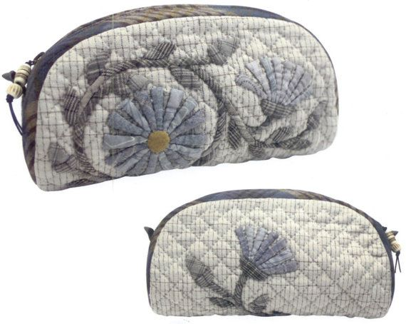Quilt Kit - Blue Marguerite Pouch Kit by Yoko Saito of Japan from QuiltingFoxes, $31.75