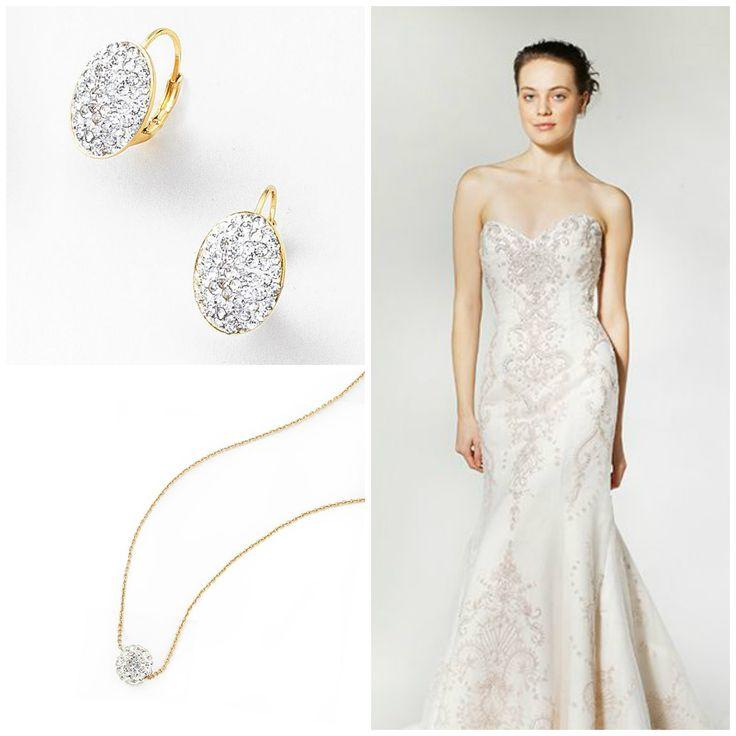 Delicado juego de gargantilla y aretes en 4 baños de oro, con piedras de cristal. #NICE #joyeria #fashion #jewelry #boda #wedding #novia #bride #myday