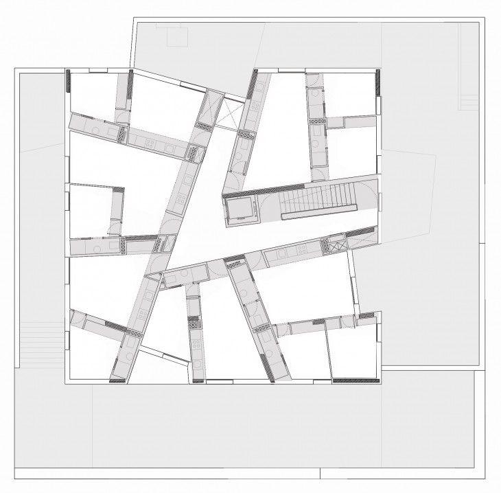 C-32, planta tipo, viviendas para jóvenes, en alquiler, en Carabanchel, de Molina,Salter,Soler y Sarli, arquitectos
