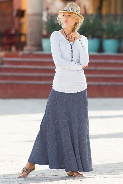The ultimate on-the-go A-line, this stretch skirt won't sag after all-day wear. Panels of indigo knit meet at purl-stitched seams in a maxi length. Elastic waist. Cotton.