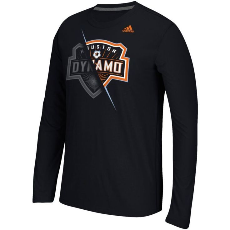 adidas Men's Houston Dynamo Uncovered Ultimate Black Long Sleeve T-Shirt, Size: Medium, Team