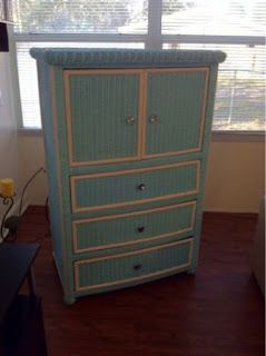 PAINTED WICKER A Wicker Dresser Re-Do ...great idea for all of the wicker furniture I have ,,,this would be great for Delscamp's large dresser