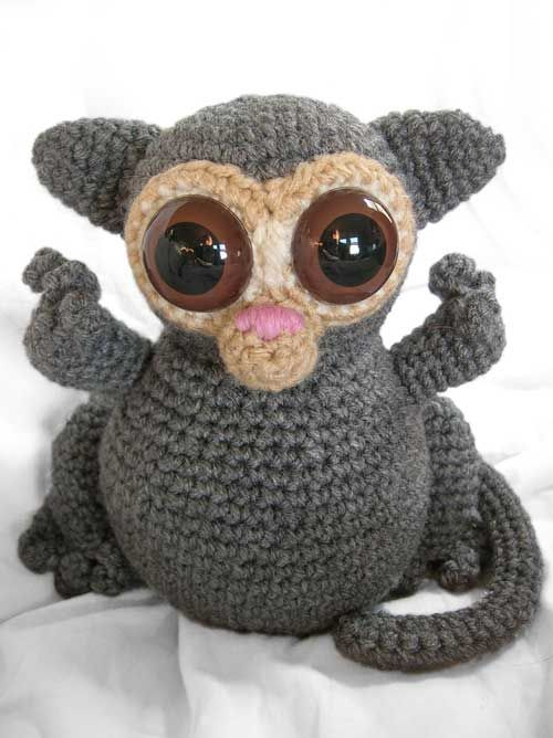 """Timmy the Tarsier""...pattern by Footloosefriend available to buy."