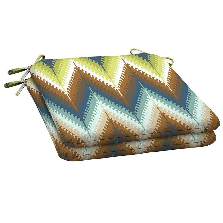 Hampton Bay Pueblo Flame Stitch Outdoor Seat Pad (2-Pack)-JF17060B-D9D2 - The Home Depot