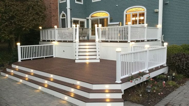 Built for entertaining well into the evening, this multi-level deck is flanked with lighting galore. The wide stair entrance is inviting, and provides plenty of flow for guests coming or going. And in a pinch, those stairs can double as extra seating. The material used is Fiberon composite decking and railing. The builder is Just Decks by Capri of NJ. Visit www.fiberondecking.com for deck plan ideas.