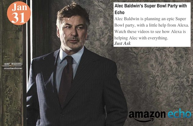 Alec Baldwin's Super Bowl Party with Echo- www.teelieturner.com The first Amazon Super Bowl Commercial has Alec Baldwin and Dan Marino in it-with the star being Echo (Alexa) #alecbaldwinecho