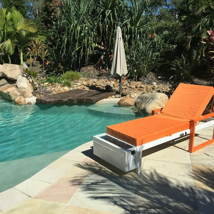 This chair has outlets powered by solar panels! Perfect pool ideas for the backyard. Imagine sun bathing this summer with renewable energy!