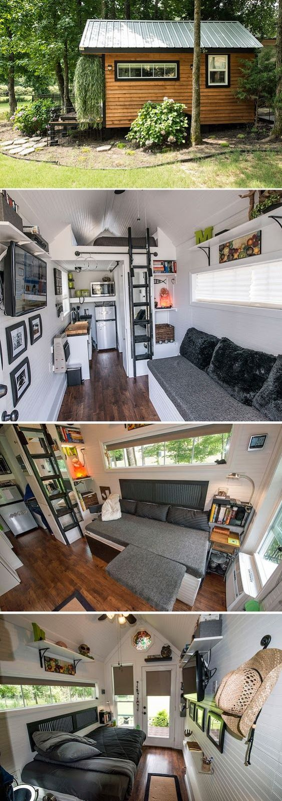 A 8′ x 16′ tiny house on wheels has a futon/couch, white painted interior, heated floors, granite counter tops, propane stove, and larger ...