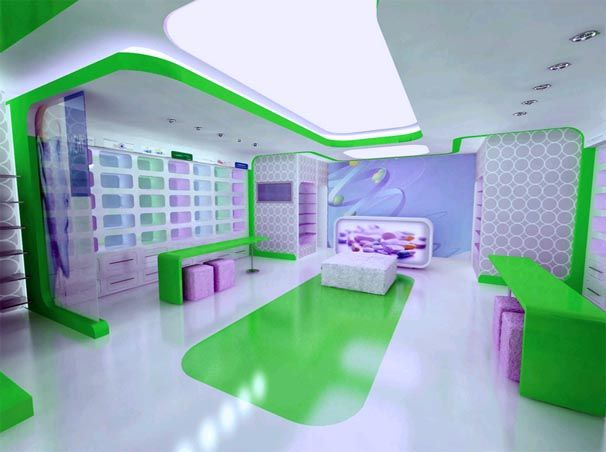 Modern Drug Store Design Ideas With Interior Lighting