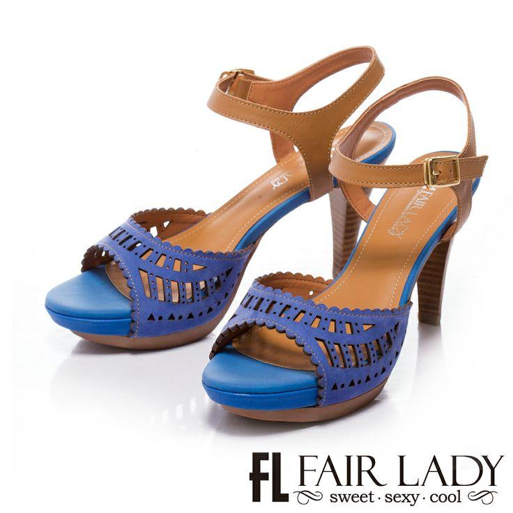 0-2200 Fair Lady 皮革鏤空雕花魚口涼鞋 藍 - Yahoo!奇摩購物中心